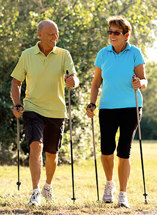 Wellness And Recreation Couple Pole Walking