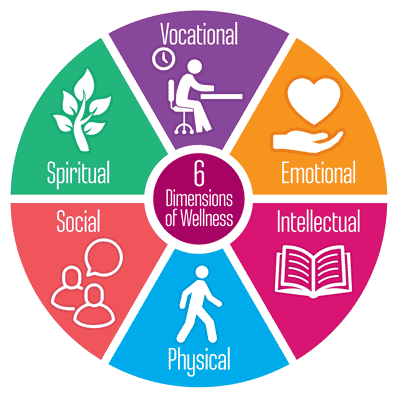 6 dimensions of wellness: vocational, emotional, intellectual, physical, social, spiritual